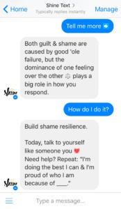 Screenshot of Shine Text in Facebook Messenger